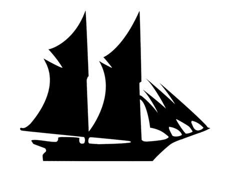 illustration of the old-time frigate on white background Vector
