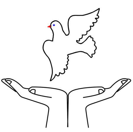 illustration flying dove on white background Vector