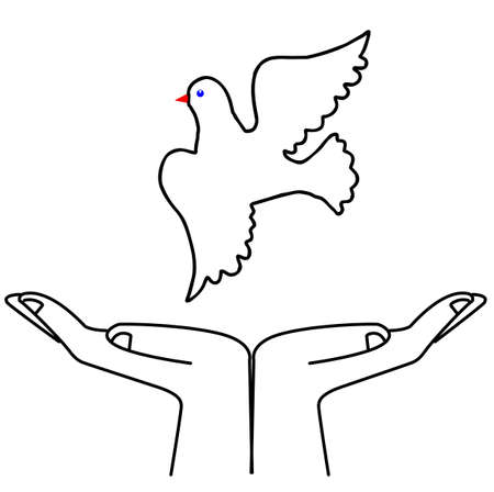 illustration flying dove on white background Stock Vector - 6240587