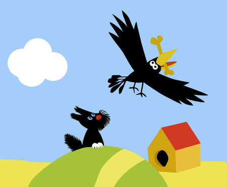 illustration of the small dog and crow Vector