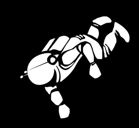 spaceman: drawing of the spaceman on black background Illustration