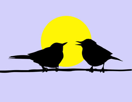 drawing two birds sitting on branch on background sun Vector