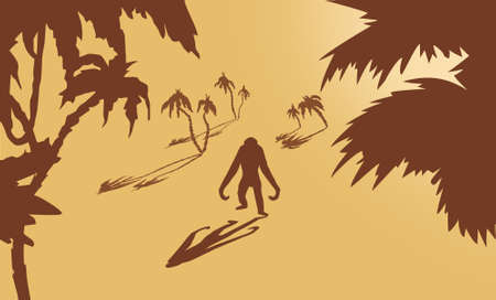 gorilla amongst palms on yellow background Vector