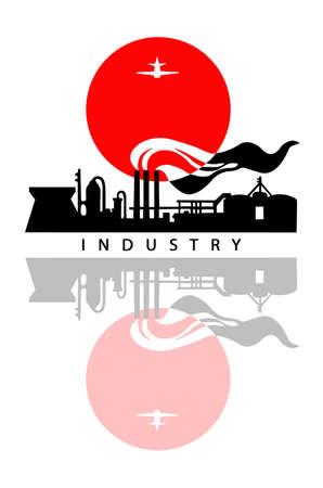 industrial landscape:  paesaggio industriale su sfondo bianco Vettoriali