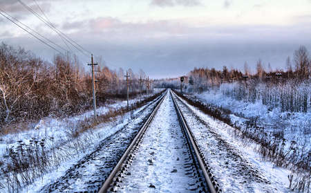 railway in winter. hdr photo