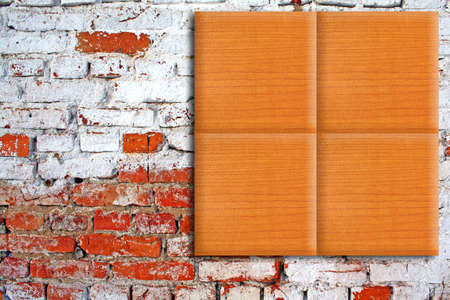 wooden tiles on brick wall photo