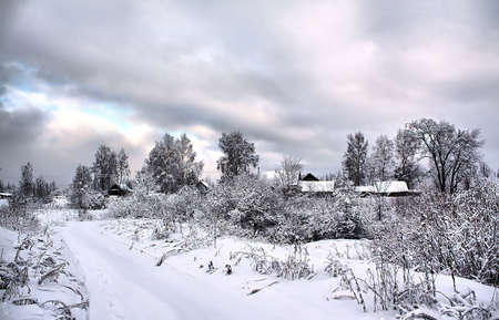 village in snow. hdr photo