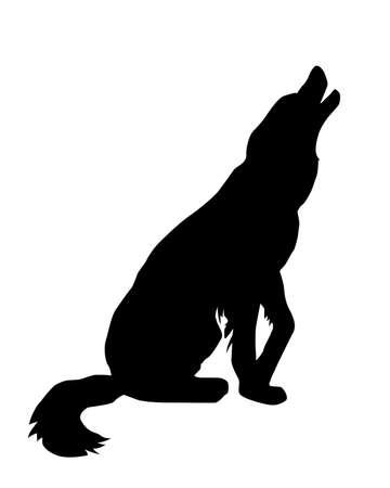 wail: illustration of the rambling dog on white background