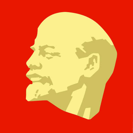 social history: silhouette of the lenin on red background