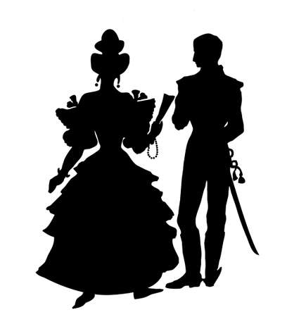 silhouette of the officer with lady on white background Stock Vector - 7038399
