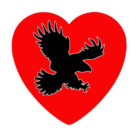 illustration of the ravenous bird inwardly heart Stock Vector - 7038315