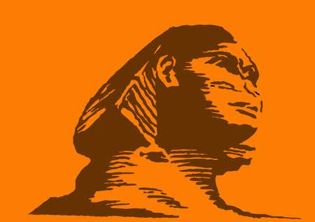 nile river:  illustration of the sphinx on orange background