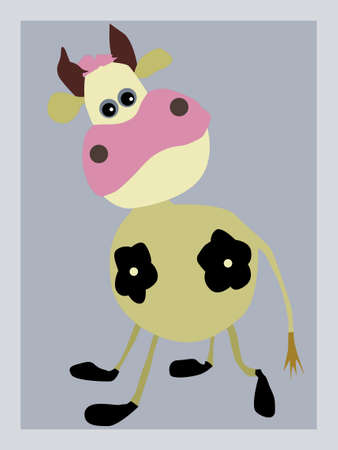 portrait of the cow on gray background Vector