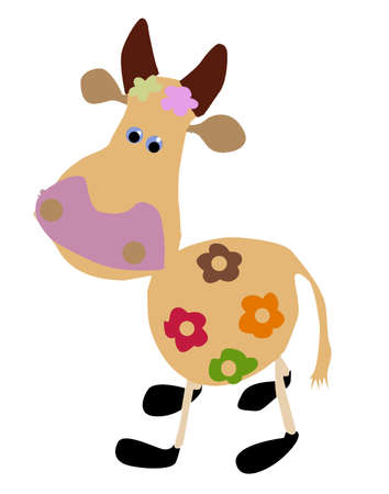 drawing of the cow on white background Vector