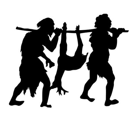 silhouette of the ancient people on white background Vector