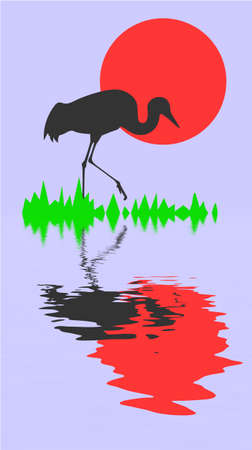 silhouette of the crane on background sun Vector