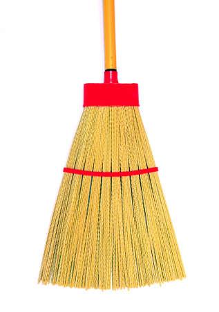 broom on white background photo