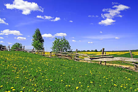 old fence on field photo