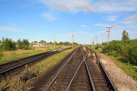 railway near small station Stock Photo - 7656271