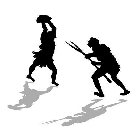 silhouette two fight primitive persons photo