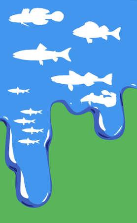 lota: Ilustraci�n de pez en el agua sobre fondo verde  Foto de archivo