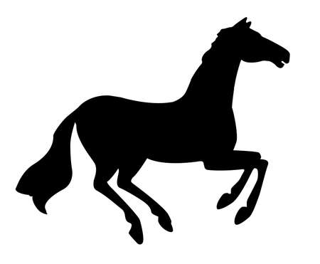 r silhouette horse on white background photo