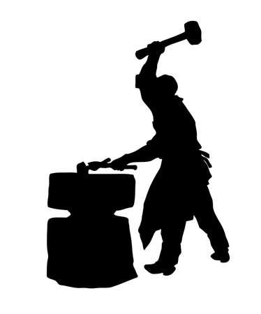 silhouette del fabbro su sfondo bianco