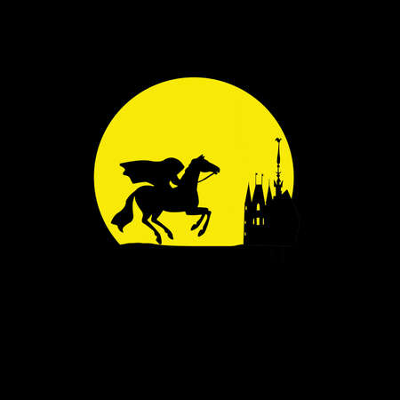 silhouette of the rider without head on yellow background photo