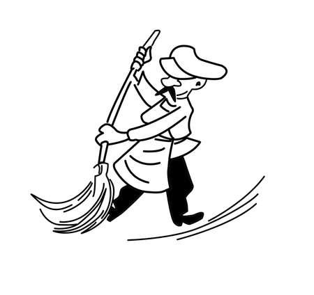 drawing old caretaker on white background photo