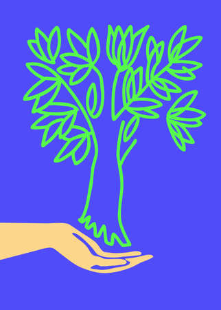 drawing of the hand holding tree Stock Photo - 7657232