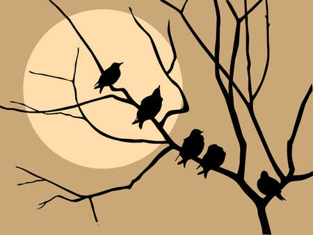 illustration migrating starling on branch tree Stock Illustration - 7657250