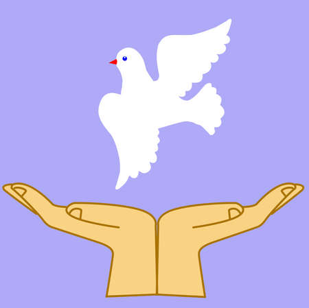 high spirits: vector illustration of the dove in hand Stock Photo
