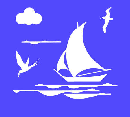 illustration sailboat in ocean illustration