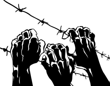 war crimes:   silhouette of the barbed wire on white background