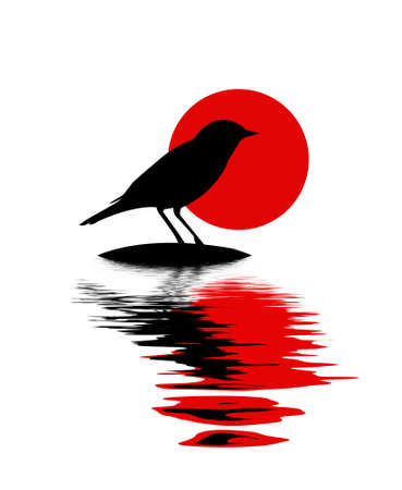 side viewing: silhouette of the bird on stone amongst water Illustration