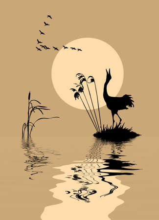bulrush:  silhouette of the birds on lake