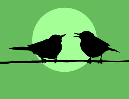 silhouette two birds on background sun Vector