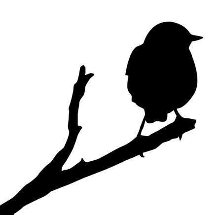small group of object:  silhouette of the bird on branch Illustration