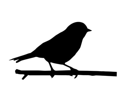 cartoon bird:  silhouette of the small bird on branch Illustration