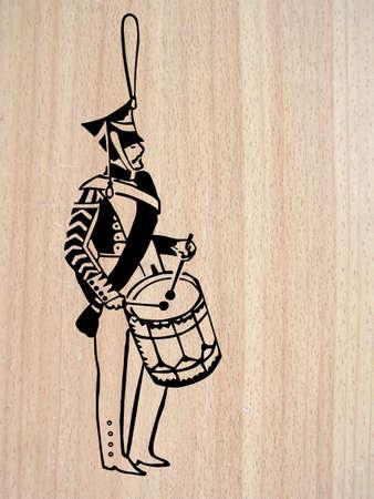 grenadier:   illustration of the drummer on wood background