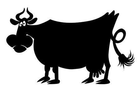 cows grazing:  silhouette of the cow on white background