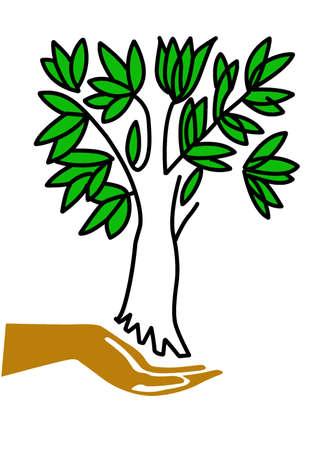 keeps:  illustration hand keeps tree Illustration