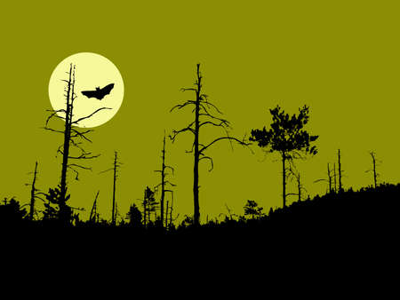 silhouette old dry wood Vector