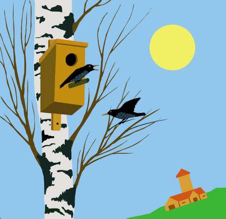 duplication:  illustration starling on tree