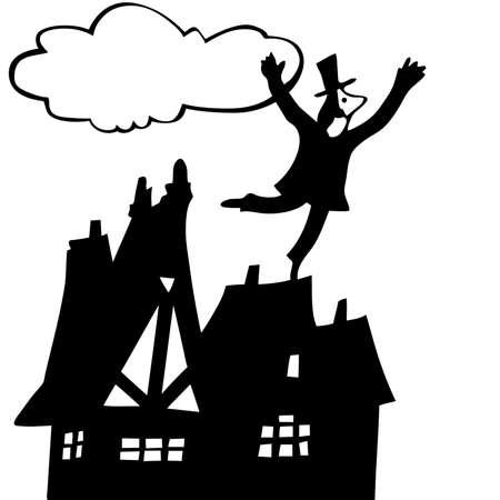 overhand:  illustration of the chimney sweep on roof Illustration