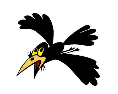illustration flying ravens on white background Vector