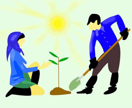 children grow tree Stock Vector - 7736339