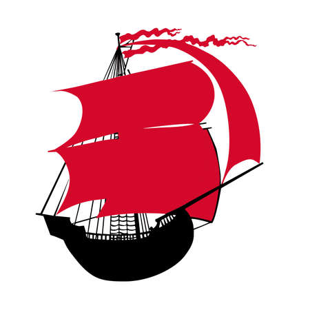 rope ladder: Ilustraci�n de la pez vela con velas rojas