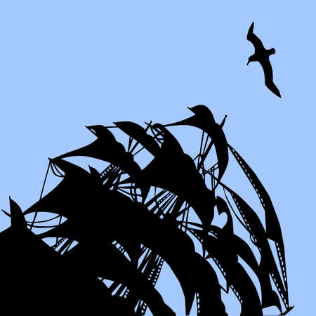 illustration of the sail on background blue sky Vector