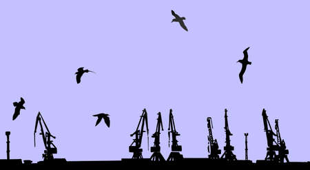 dart series:   silhouette shipyard on yellow background Illustration